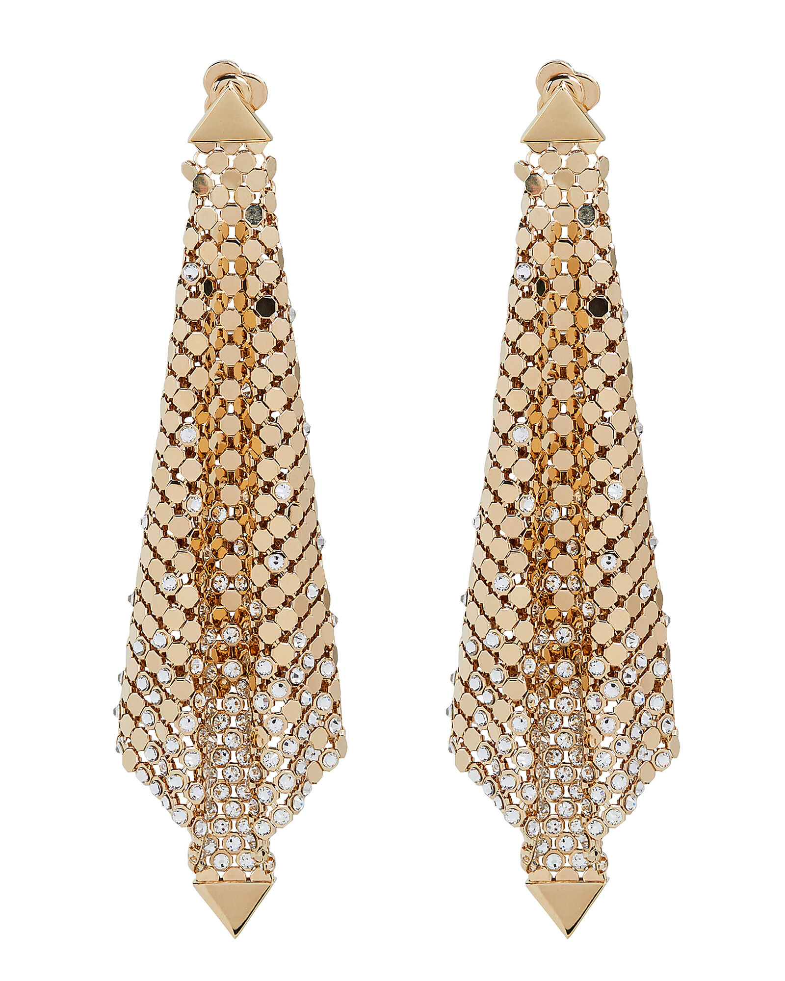 Gold Mesh Chainmail Earrings, GOLD, hi-res