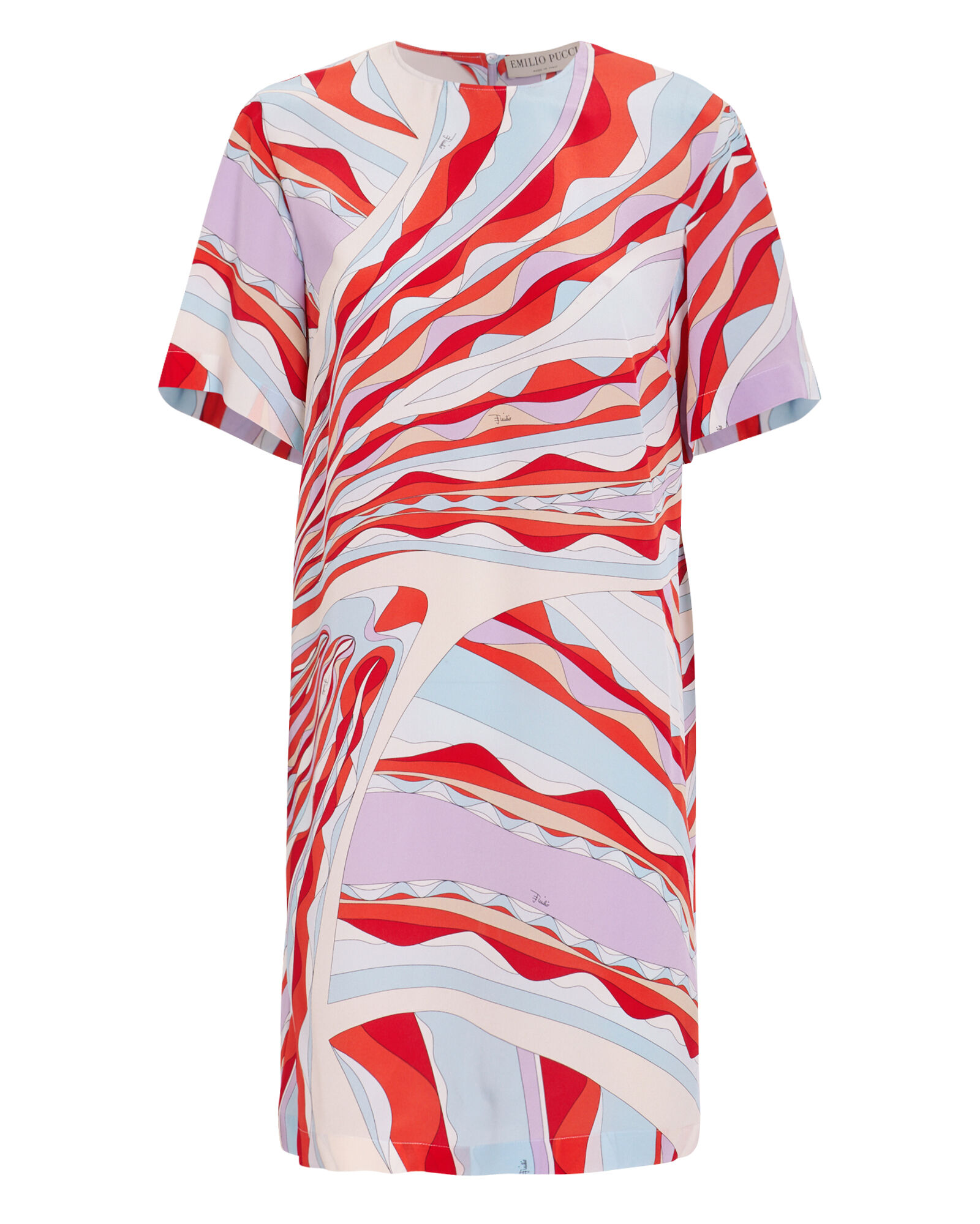 Silk Tunic Dress, RED/BLUE ABSTRACT, hi-res