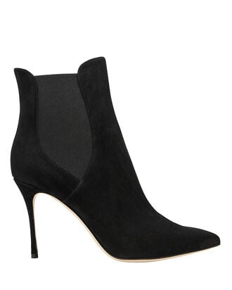 Godiva Suede Stiletto Ankle Boots, BLACK, hi-res