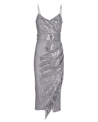 Azariah Fringed Sequin Wrap Dress, SILVER, hi-res