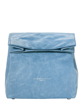 Foldover Blue Leather Lunchbag, BLUE-MED, hi-res