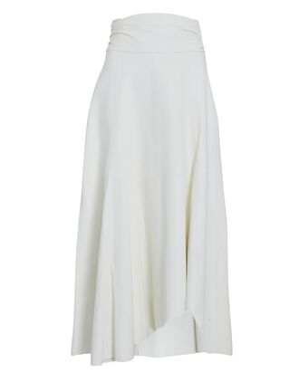 Eloge Asymmetrical Leather Midi Skirt, WHITE, hi-res