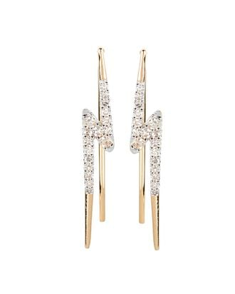 Pavé Lightning Bolt Wing Stud Earrings, GOLD, hi-res