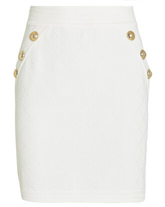Diamond Knit Mini Skirt, WHITE, hi-res
