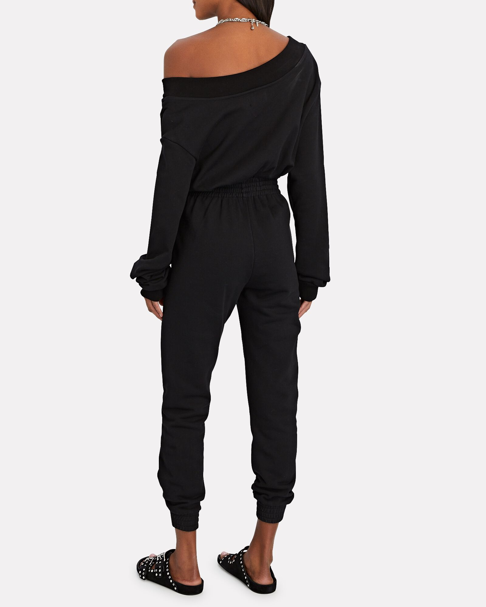 Giovanni Terry Off-the-Shoulder Jumpsuit, BLACK, hi-res