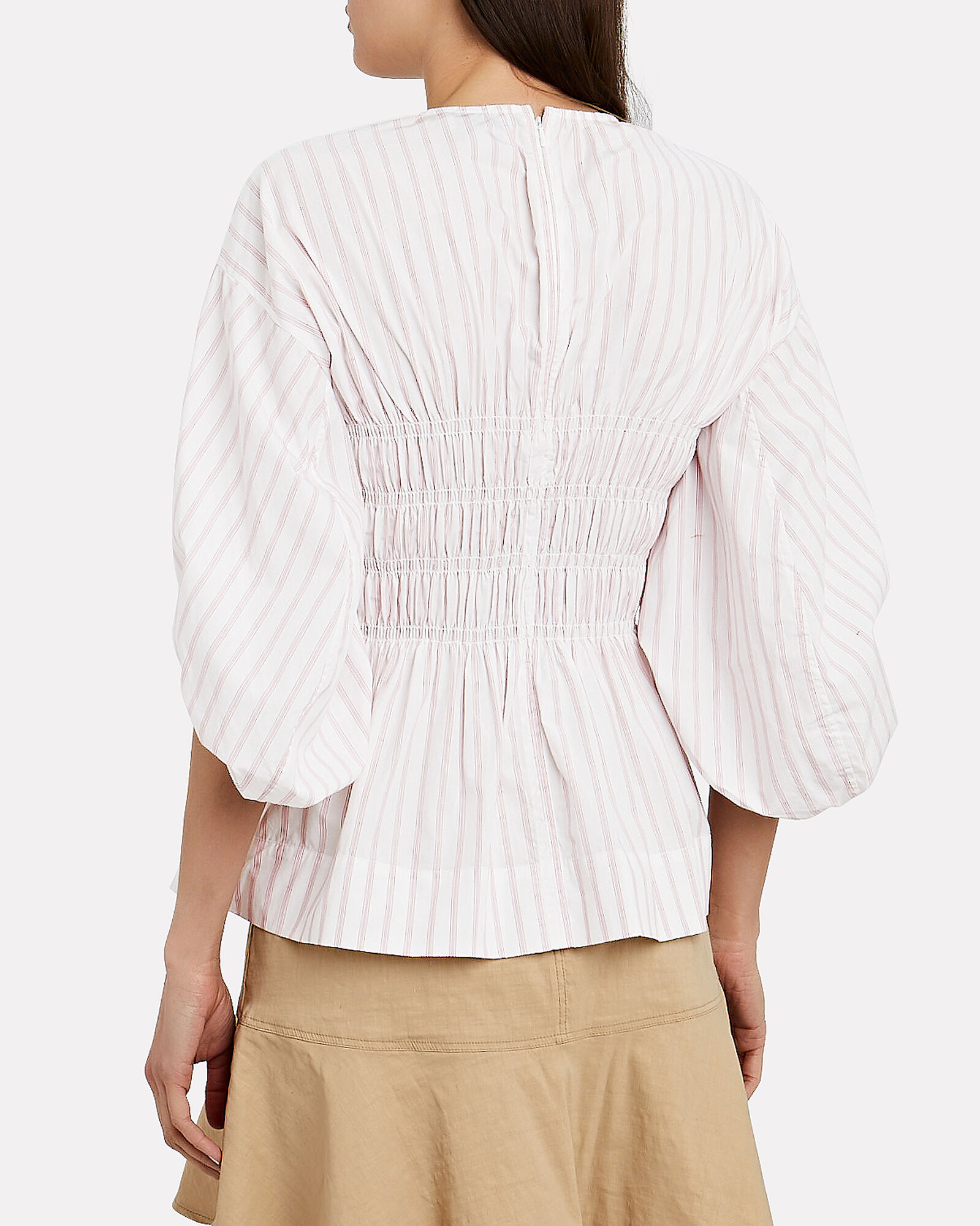 Striped Balloon Sleeve Top, WHITE/PINK, hi-res