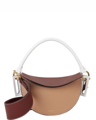 Brown Dip Colorblock Bag, WHITE/BEIGE/BROWN/LEATHER, hi-res