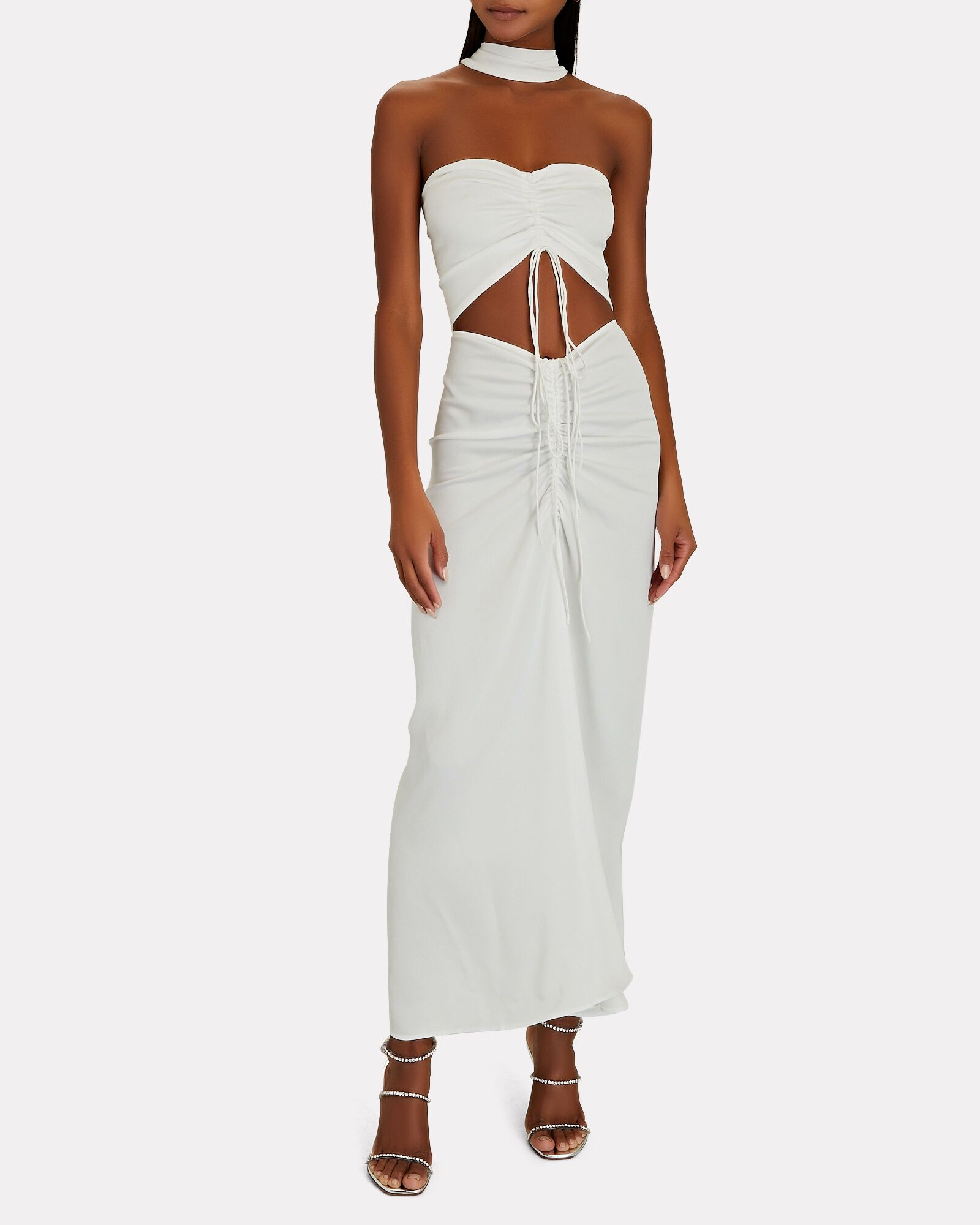 Ruched Disconnect Halter Maxi Dress, WHITE, hi-res