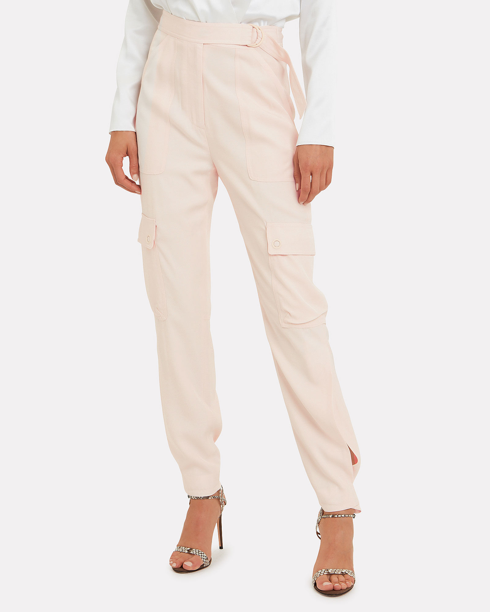 Belted Sateen Cargo Pants, BLUSH, hi-res