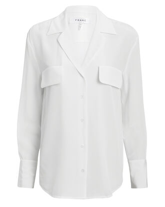 Silk Blanc Blouse, WHITE, hi-res
