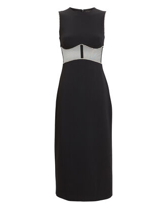 Crystal & Mesh Crepe Midi Dress, BLACK, hi-res