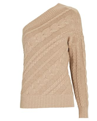 Zoey Asymmetrical Cable Knit Sweater, BEIGE, hi-res