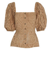Broderie Anglais Puff Sleeve Top, BEIGE, hi-res