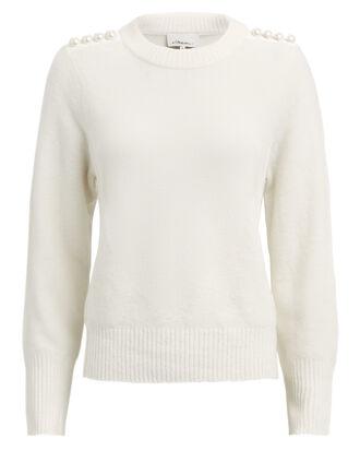 Lofty Pearl Embellished Sweater, IVORY, hi-res