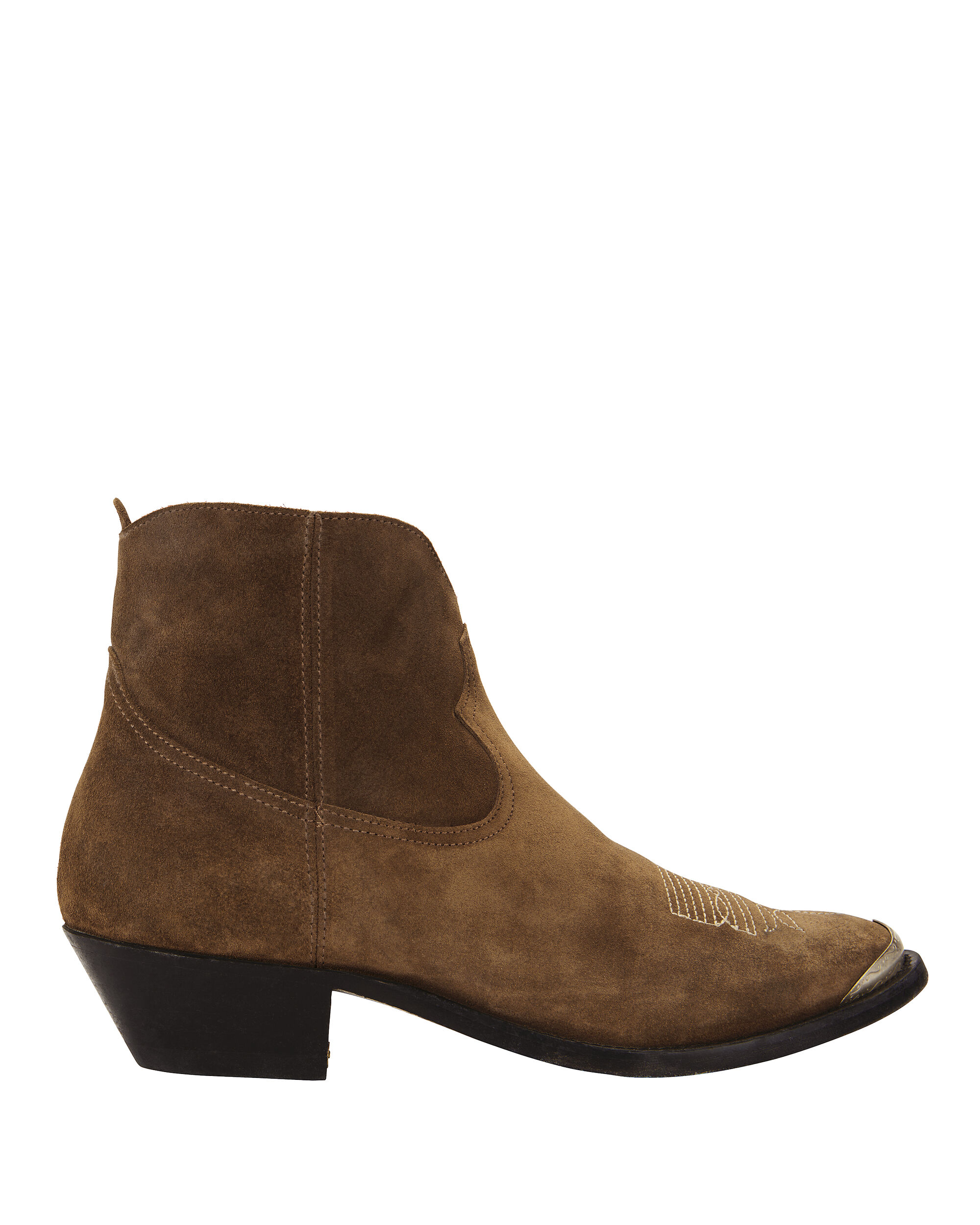 Young Western Suede Booties, BROWN, hi-res