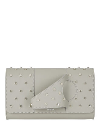 L'Asymétrique Studded Handpiece Clutch, GREY, hi-res