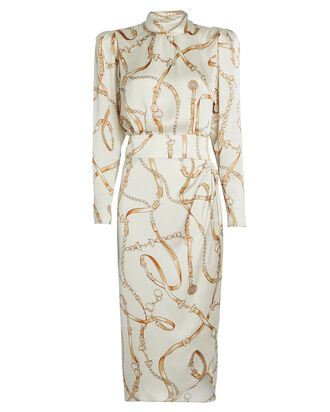 Bianca Scarf Print Satin Dress, IVORY, hi-res