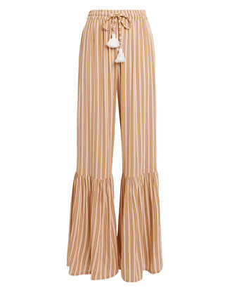 Bisou Wide Leg Peach Striped Trousers, PEACH/WHITE, hi-res