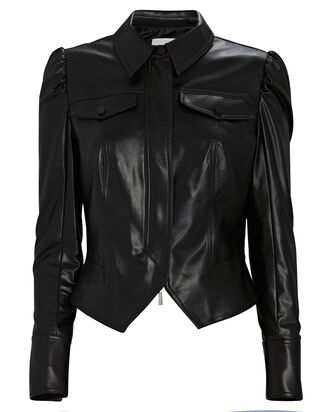 Vegan Leather Puff Sleeve Jacket, BLACK, hi-res