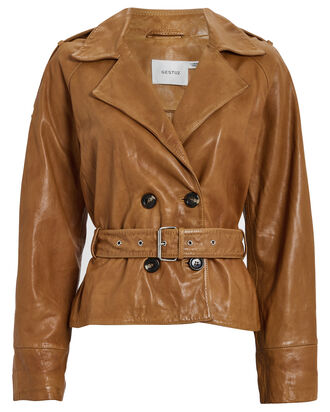 Violitta Belted Leather Jacket, BROWN, hi-res