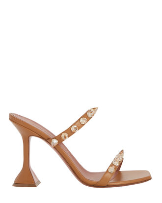 Julia Leather Spike Slide Sandals, BROWN, hi-res