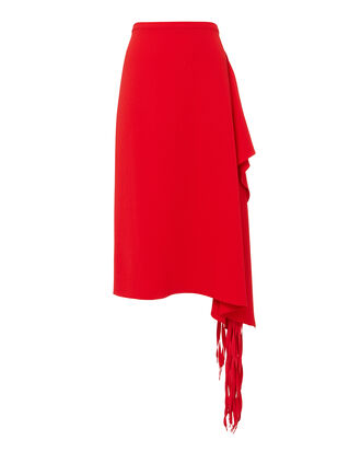 Fringe Midi Skirt, RED, hi-res