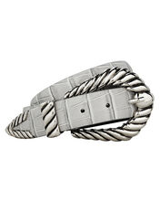 Croc-Embossed Western Waist Belt, GREY, hi-res