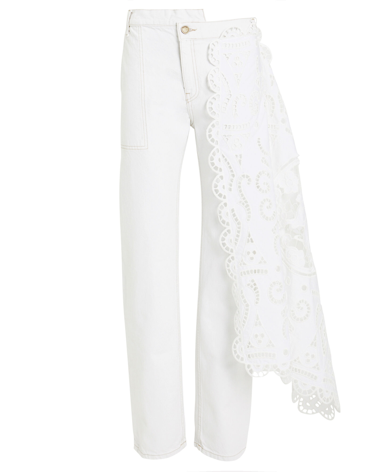 Louise Lace Draped Jeans, WHITE, hi-res