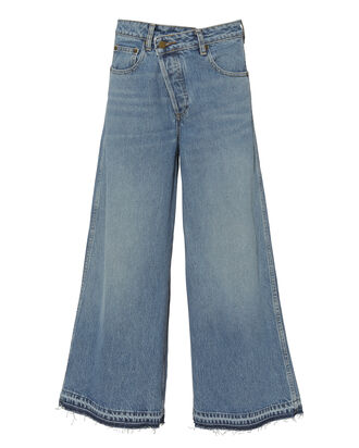 Asymmetrical High Waist Culotte Jeans, BLUE-MED, hi-res