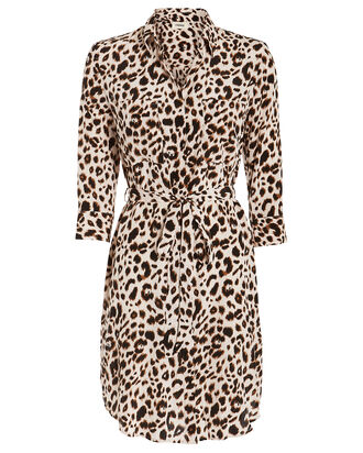 Stella Silk Shirt Dress, LEOPARD, hi-res