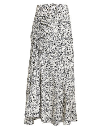 Paneled Ruched Floral Midi Skirt, MULTI, hi-res