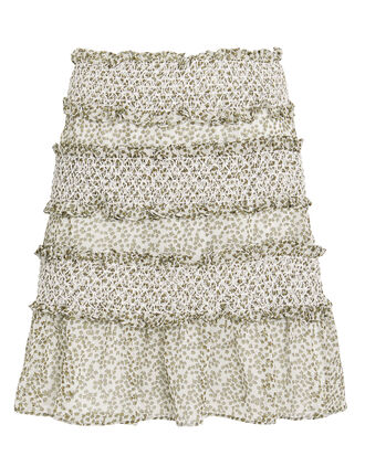 Behati Smocked Mini Skirt, WHITE/GREEN, hi-res