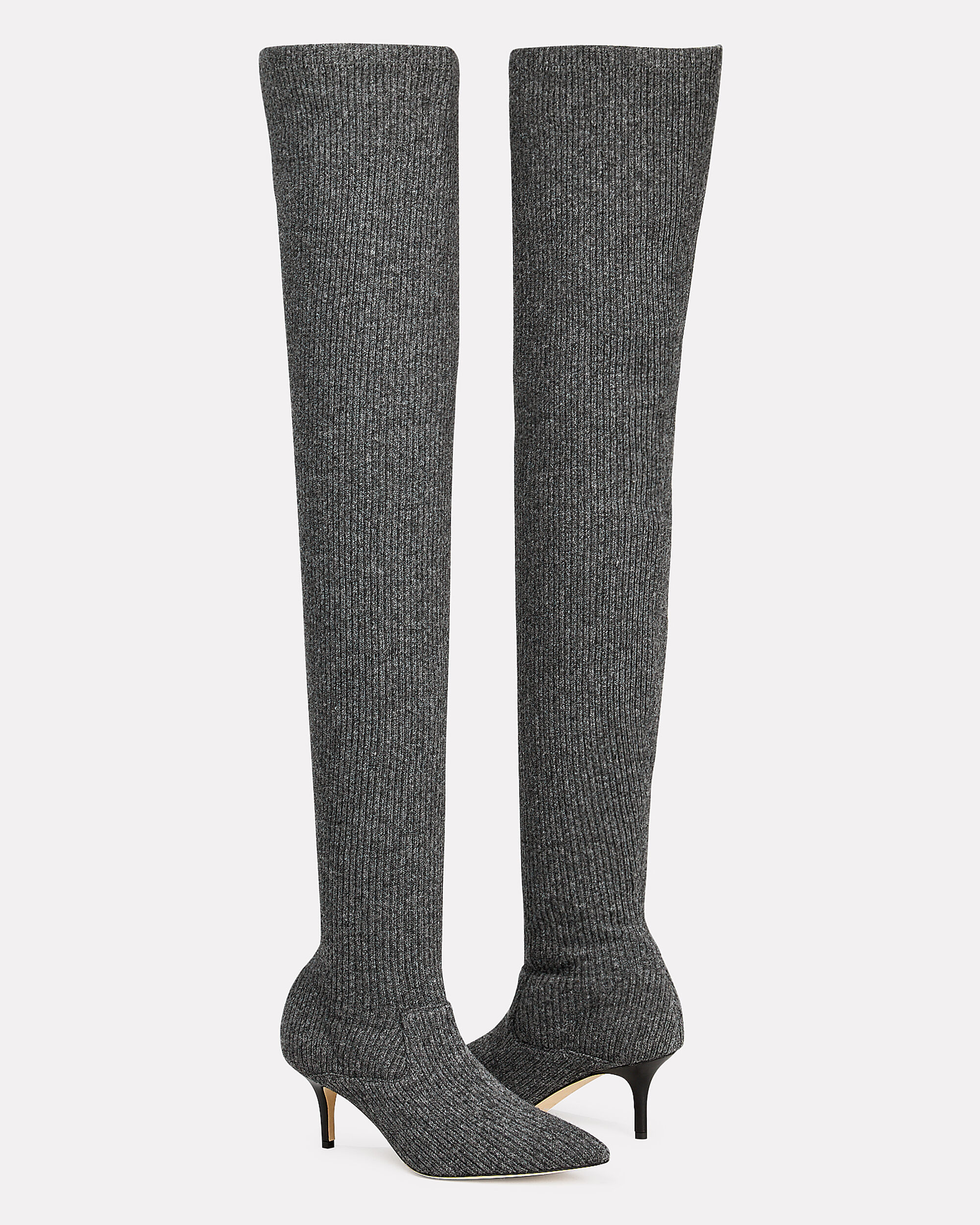 Over-The-Knee Sock Boots, CHARCOAL, hi-res