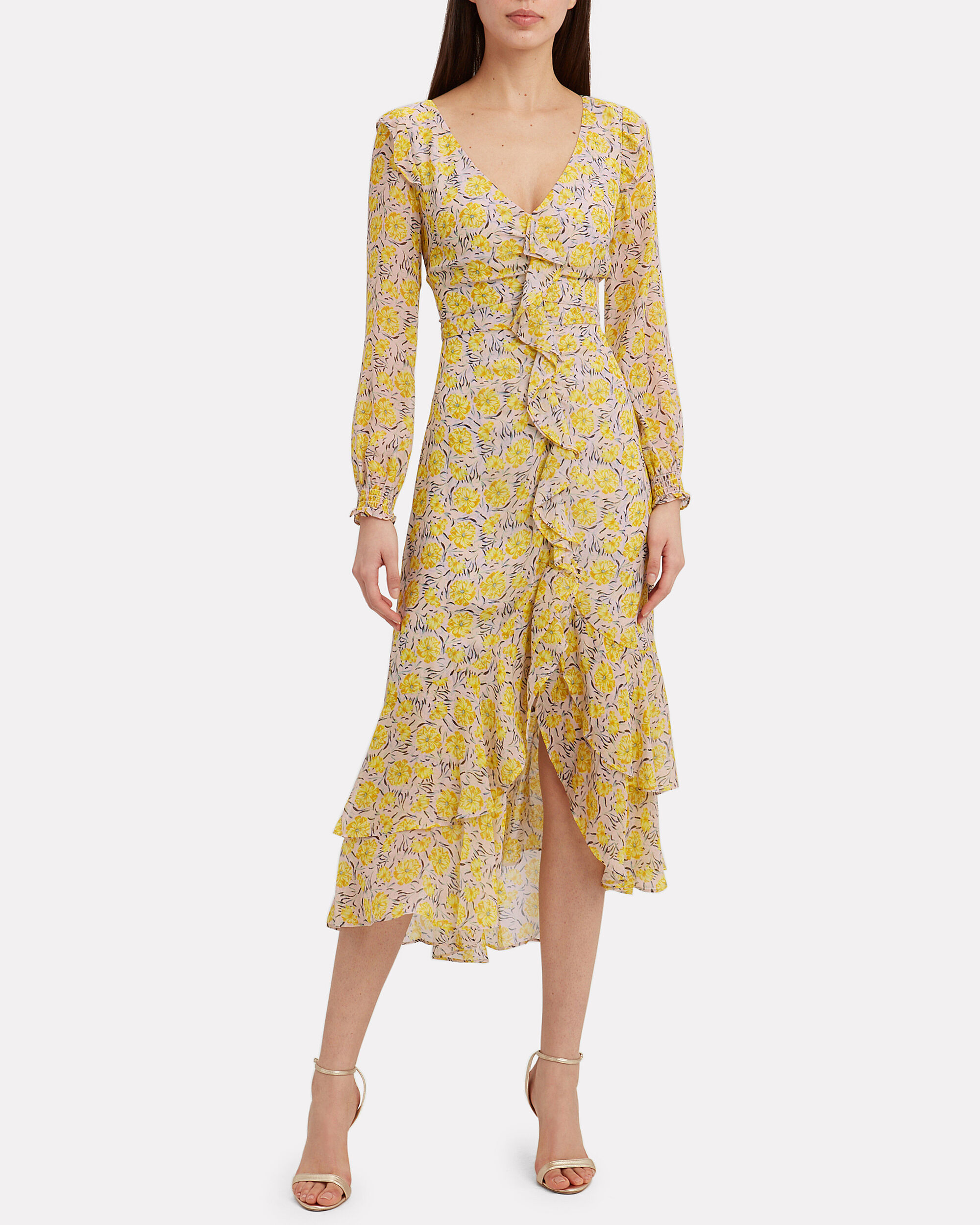 Rowen Printed Midi Dress, PINK, hi-res
