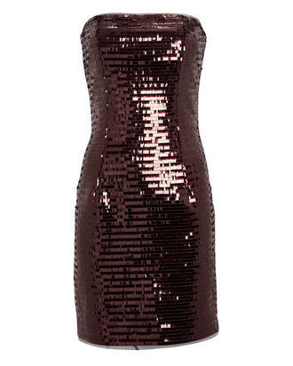 Strapless Sequin Mini Dress, WINE RED, hi-res