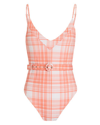 Belted Plaid One Piece, ORANGE/WHITE, hi-res