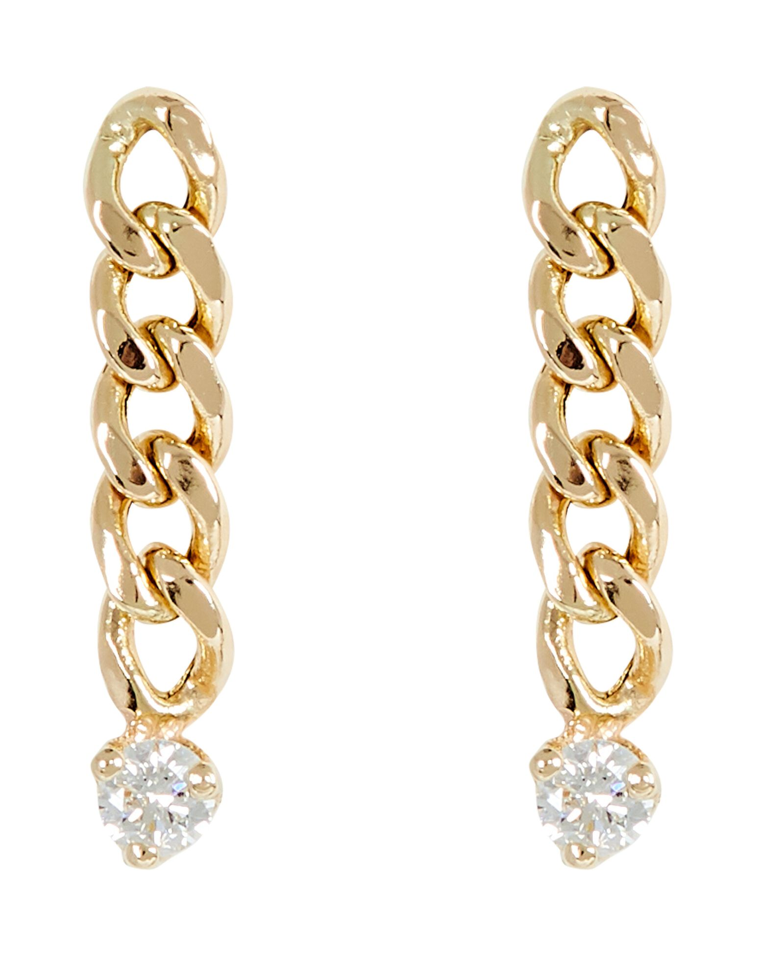 Small Curb Chain Drop Earrings, GOLD, hi-res