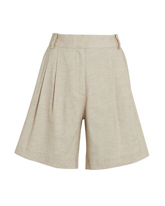 Pleated High-Rise Shorts, BEIGE, hi-res
