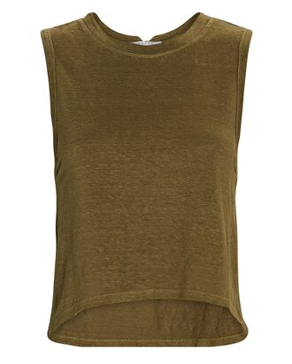 Swingy Linen Muscle Tank Top, OLIVE, hi-res