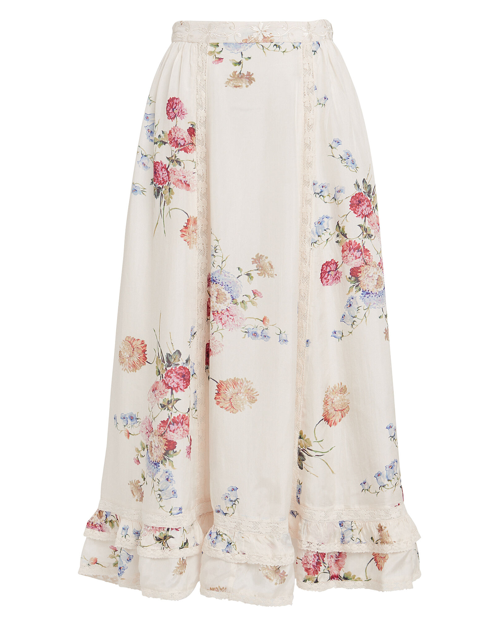 Navya Floral Silk Skirt, MULTI, hi-res