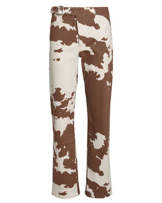 Lou Cropped Cow-Print Jeans, WHITE/BROWN COW PRINT, hi-res