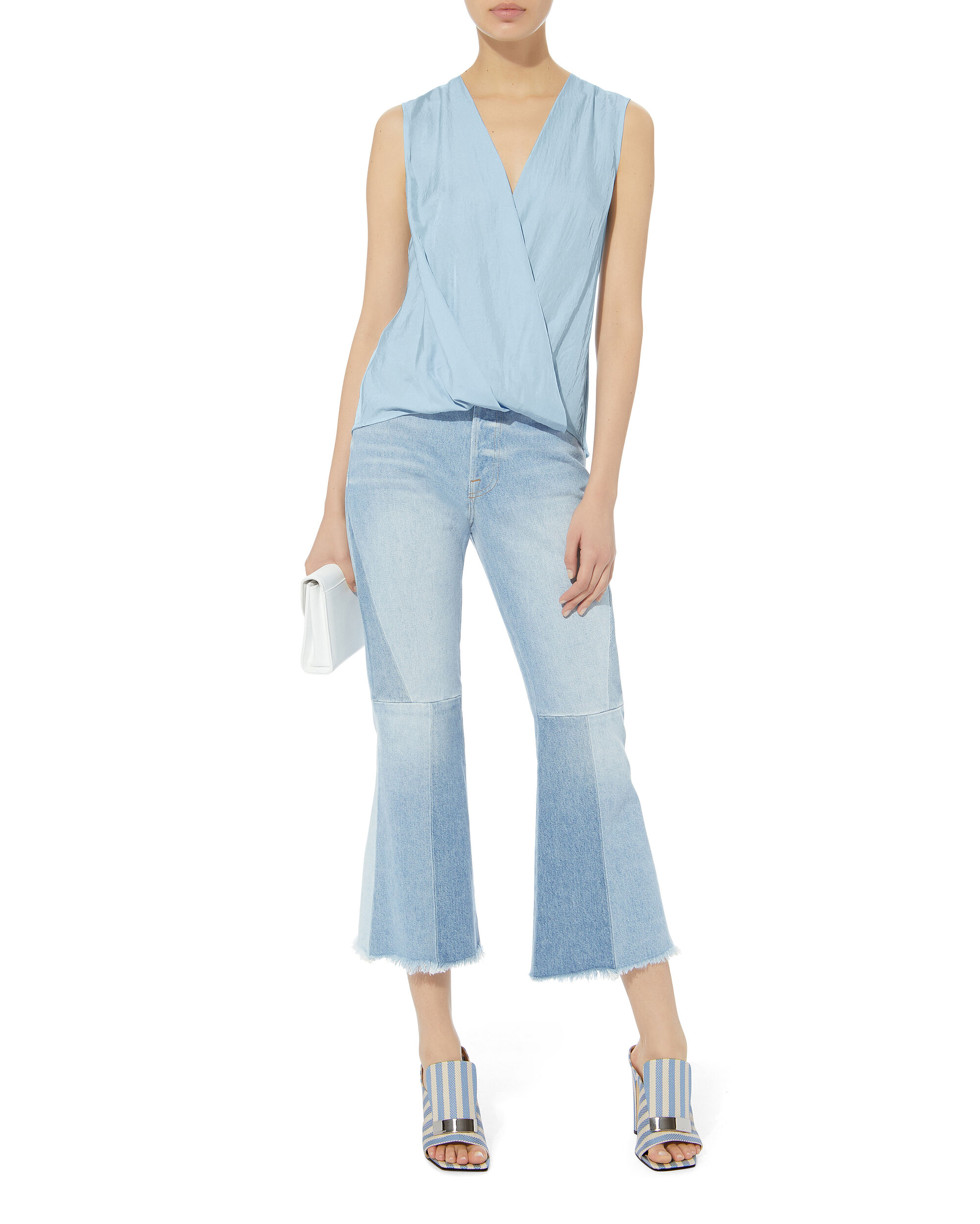 Victor Sky Blue Wrap Blouse, BLUE-LT, hi-res