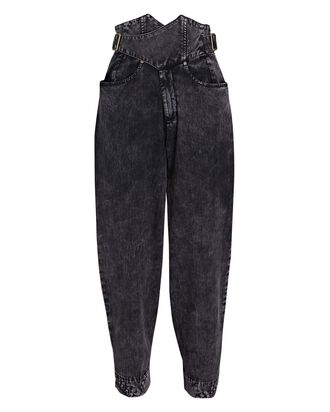Aston High-Rise Cross-Front Jeans, BLACK, hi-res