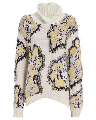 Daisy Jacquard Wool Turtleneck, WHITE/DAISY, hi-res