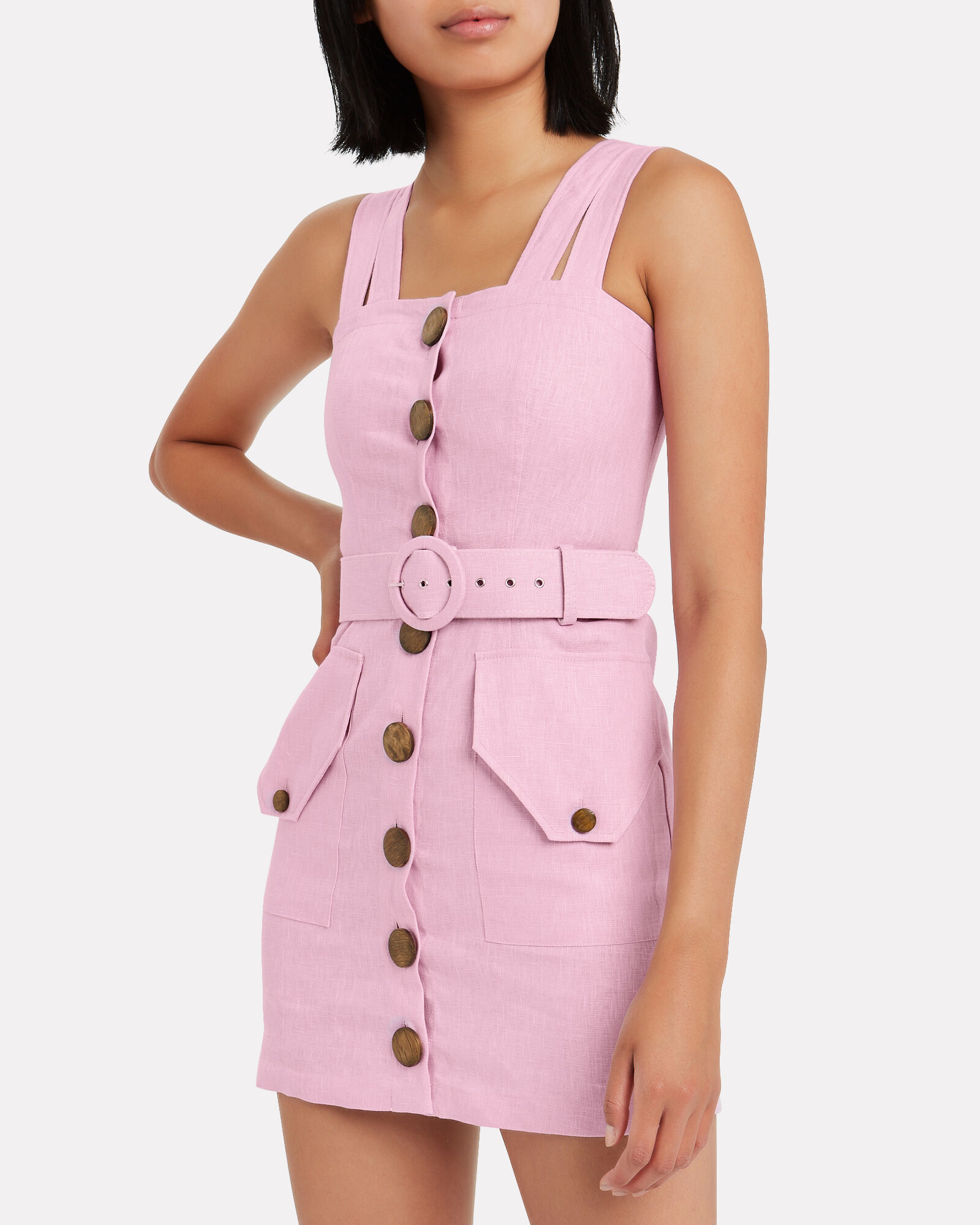 Twill Button Front Sleeveless Dress, LAVENDER, hi-res