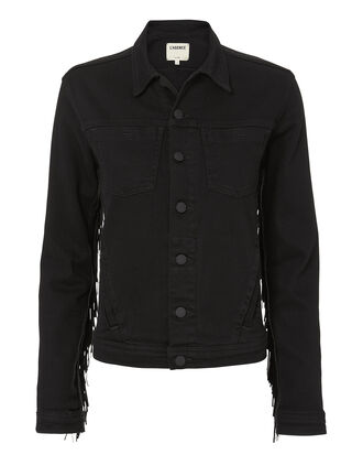 Celine Fringe Denim Jacket, BLACK, hi-res