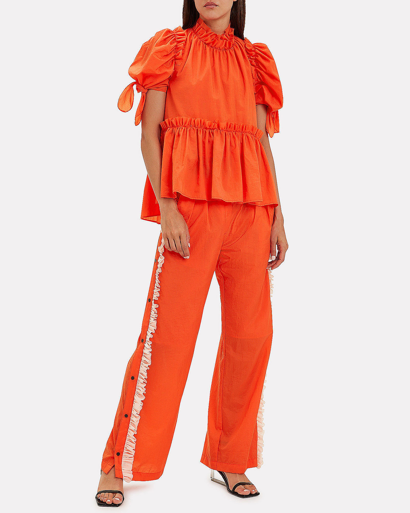 Orla Ruffled Trousers, ORANGE, hi-res