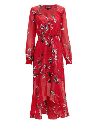 Deirdre Floral Print Dress, RED, hi-res