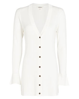 Lucas Ribbed Long Cardigan, IVORY, hi-res
