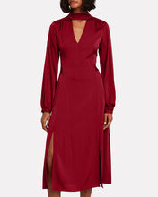 Victoria Silk Midi Dress, RED, hi-res